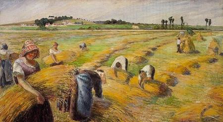 The Harvest, Camille Pissaro (public domain)