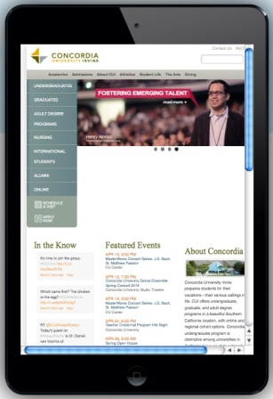 CUI homepage on IPad mini